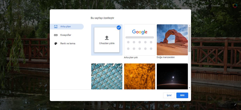 Google Chrome Arka Plan Değiştirme